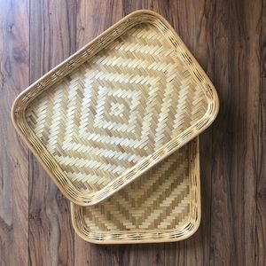 Vintage Boho Woven Wicker Basket Trays Set of 2